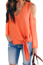 Rust Red Cold Shoulder Side Tie Blouse