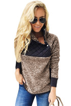 Coffee Fleece Asymmetrical Snap Pullover