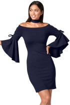 Grommet Lacing Sleeved Navy Choker Dress