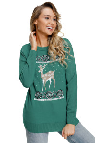 Adorable Reindeer In the Snow Turquoise Christmas Sweater