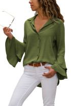 Army Green Layered Bell Sleeve Button Down Shirt