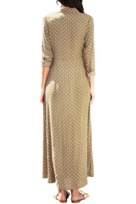 Olive Green Polka Dot Button Down Maxi Shirt Dress