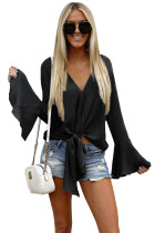 Black Bell Sleeves Tie Front V Neck Blouse