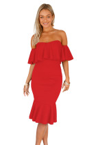 Red Ruffle Off Shoulder Mermaid Midi Party Dress