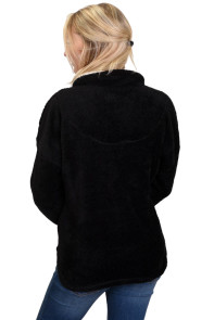 Black Lamb Fleece Zip Down Jacket