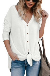 White Waffle Knit Button Front Blouse