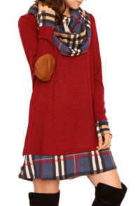 Red Plaid Elbow Patch Cowl Neck Dress