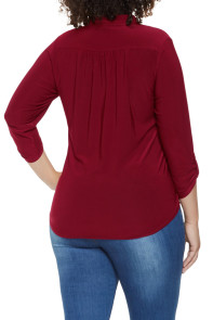 Burgundy Plus Size Zip Up Pleated Top