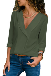 Olive Green Lapel V Neck Button Down Blouse