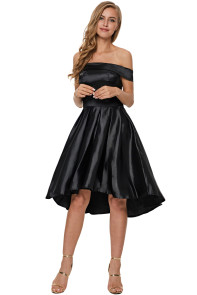 Black Off Shoulder Pleated Satin Homecoming Dress