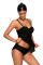 Black Lace Flyaway Underwired Tankini Bathing Suit