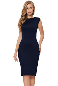 Navy Sheer Lace Back Sleeveless Midi Dress