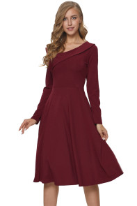 Burgundy Retro Inspired Asymmetric Collar Flared Dress
