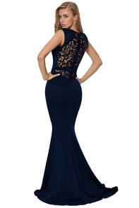 Blue Floral Embroidery Fishtail Evening Dress