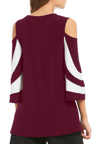 Burgundy Platter Colorblock Bell Sleeve Plus Size Tunic Top
