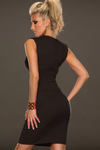Black Fantastic Neck around Design Sexy Midi Dress