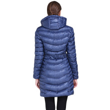 Blue Hooded Longline Winter Coat with Belt
