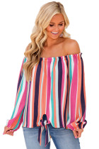 Rosy Multicolor Striped Off Shoulder Blouse
