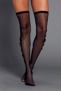 Diamond Satin Bow Detail Black Thigh High Stockings