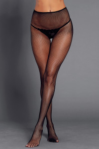 Satin Lace-up Detail Black Fishnet Pantyhose