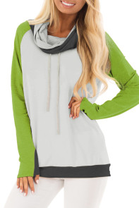 Green Thumb Hole Sleeves Color Block Sweatshirt