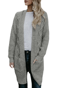 Gray Pocketed Cable Knit Cardigan