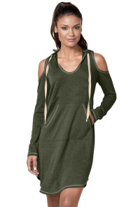 Green Long Sleeve Cold Shoulder Hooded Dress