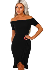 Black Frill Trim Short Sleeve Off Shoulder Midi Dress