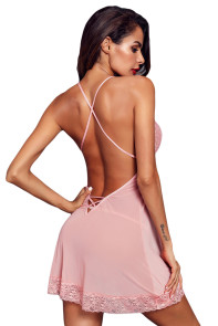 Pink Low Back Crisscross Lace Trim Babydoll