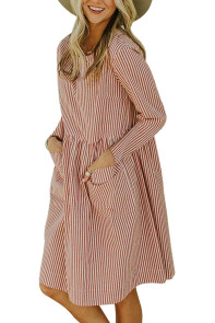 Red Pinstriped Casual Pocket Dress
