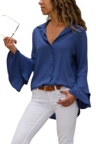 Navy Blue Layered Bell Sleeve Button Down Shirt