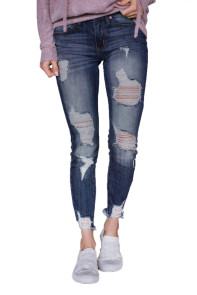 Slate Blue Wash Frayed Hem Distressed Jeans
