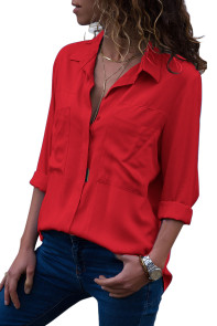 Red Covered Placket Button Down Shirt