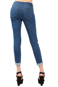 Medium Denim Cuffed Butt Lifting Skinny Jeans