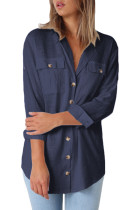 Navy Blue Buttoned Pockets Shawl Collar Linen Blouse