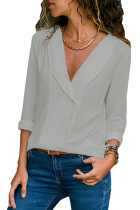 Grey Lapel V Neck Button Down Blouse