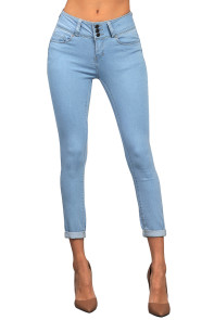 Light Denim Cuffed Butt Lifting Skinny Jeans