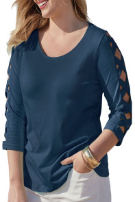 Navy Lattice Quarter Sleeved Plus Size Top