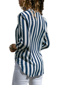 Blue White Stripe Long Sleeve V Neck Shirt