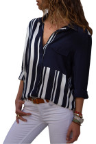 Dark Blue Colorblock Long Sleeve One Pocket Shirt