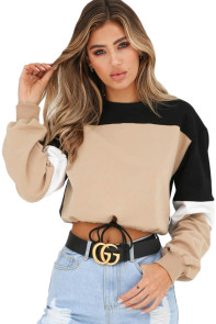 Khaki Black Drawstring Cropped Colorblock Sweatshirt