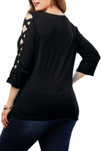 Black Lattice Quarter Sleeved Plus Size Top