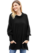 Black Slope Side Snuggles Tunic Sweater