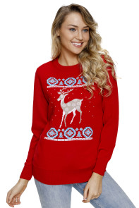Adorable Reindeer In the Snow Red Christmas Sweater