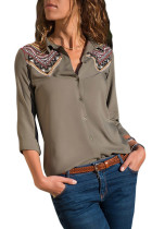 Embroidered Shoulder Accent Olive Shirt for Women