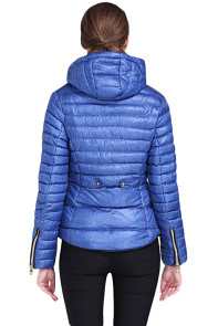 Blue Hooded Cotton Jacket with Zipped Pockets