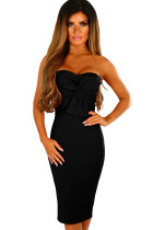 Black Twist Knot Front Strapless Midi Dress