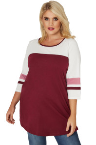 Burgundy White Color Block Quarter Sleeved Plus Size Top