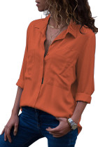 Orange Covered Placket Button Down Shirt