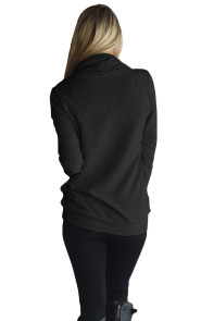 Black Button and Zipped Cowl Neck Sweatshirt